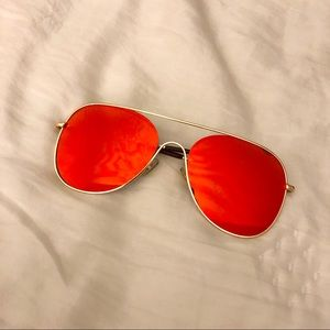 Accessories - Red Mirror Reflective Aviator Sunglasses